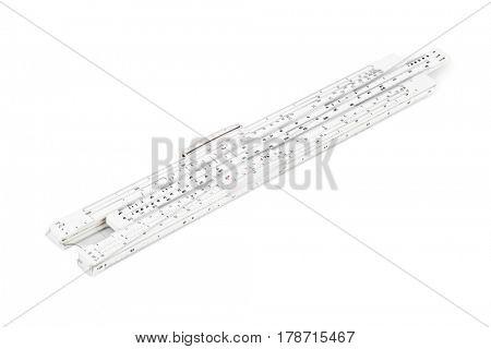 Logarithm ruler isolated on white background