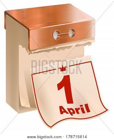 1 April Fools Day. Tear-off calendar sheet. Illustration in vector format
