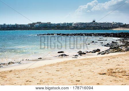 Las Cucharas Beach In Costa Teguise, Lanzarote