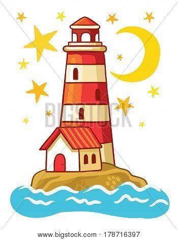 Vector lighthouse. Island in the sea with a lighthouse in a children's style.