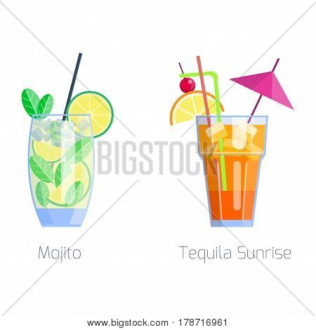 Set of alcoholic cocktails isolated fruit cold drinks tropical mojito freshness and party alcohol sweet tequila vector illustration. Juice with refreshment rum restaurant beverage.