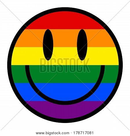 Smiling Face Smiley Icon Lgbt Rainbow Flag