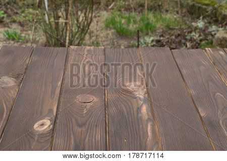 Surface of dark burnt boards against background of nature