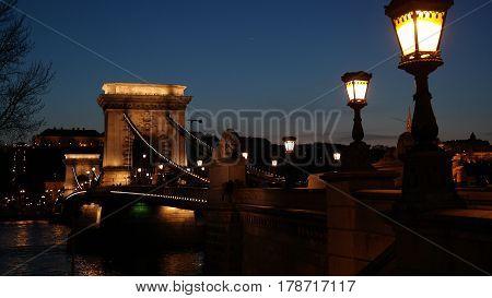 Night scene of lighted Chain bridge in Budapest