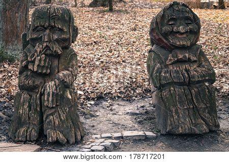 wooden sculptures grandparents art object natural place