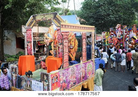 People Playing Music And Dancing At The Hindu Carnival Festival