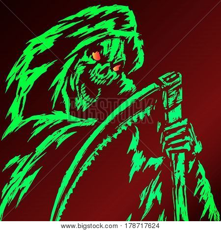 Green Death with a Scythe. Red Background. Web Icon. Isolated Flat Vector Illustration. Spooky Apocalypse Demon. Spirit Rock Skull. Ghost Skeleton.