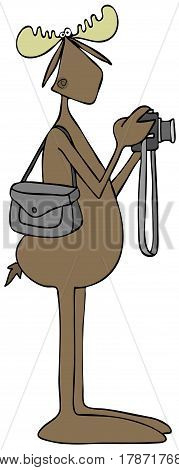 Illustration of a bull moose holding a camera with a bag over its shoulder.