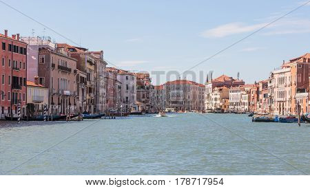 Facades Of Residential Buildings Overlooking The Grand Canal In Venice
