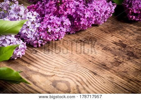 Bunch of lilac flowers on dark brown wood table with empty space for text, selective focus