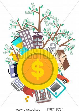 Investment in yourself infographic vector illustration. Investing in career, securities, commercial real estate, bank deposit, rare things. Strategic management, financial analysis and planning.