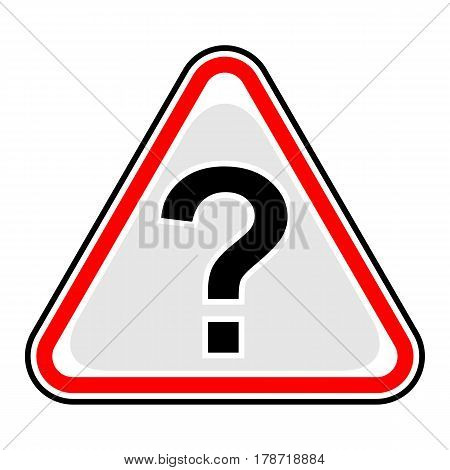Use it in all your designs. Red and black triangular sticker with question mark sign. Triangle hazard warning danger symbol. Quick and easy recolorable vector illustration