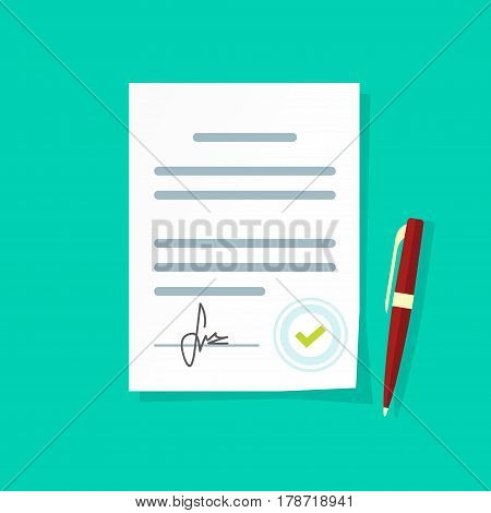Agreement document vector icon, flat style legal paper sheet contract page with signature and approved stamp