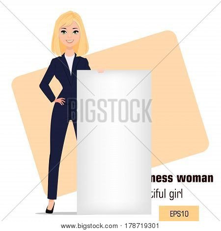 Young cartoon businesswoman standing with crossed hands. Beautiful blonde girl in office clothes standing near big blank banner. Fashionable modern lady. Vector illustration. EPS10