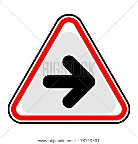 Use it in all your designs. Red and black triangular sticker with arrow right sign. Triangle hazard warning danger symbol. Quick and easy recolorable vector illustration
