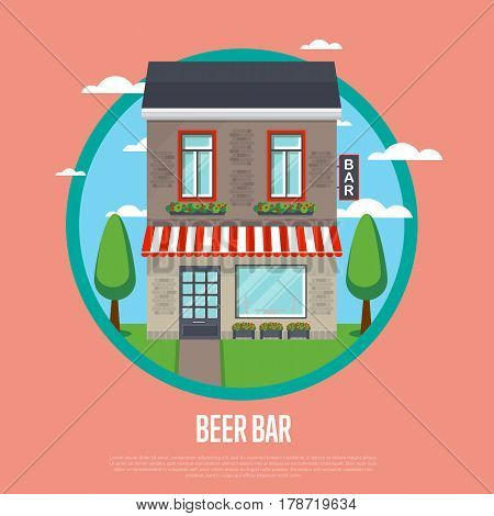 Beer bar banner in flat design vector illustration. Alcohol store, cafe, cozy bar, irish pub retail concept. Commercial public building in front with signboard and awning on street.