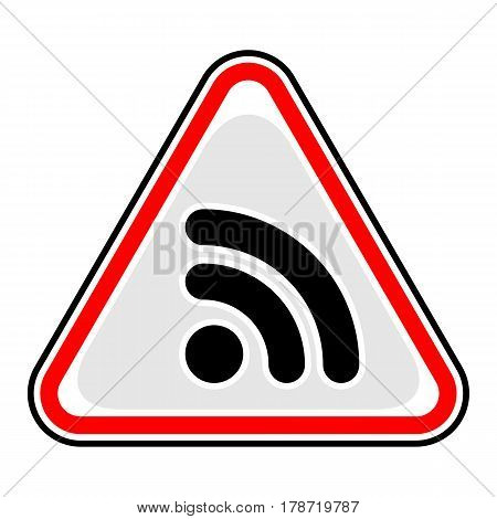 Use it in all your designs. Red and black triangular sticker with Wi-Fi signal icon or RSS sign. Triangle hazard warning danger symbol. Quick and easy recolorable vector illustration