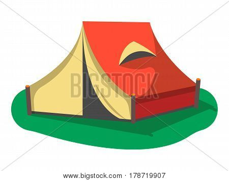 Red camping tent icon isolated on white background vector illustration. Campsite equipment in flat design. Hiking traveling, nature vacation concept.