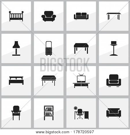 Set Of 16 Editable Home Icons. Includes Symbols Such As Trestle, Stool, Glim And More. Can Be Used For Web, Mobile, UI And Infographic Design.