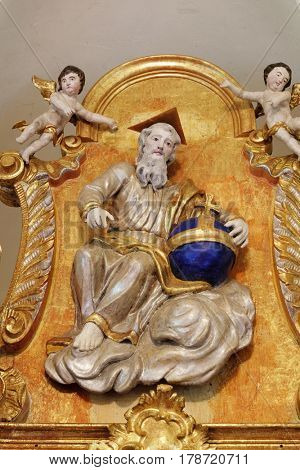 ZAGREB, CROATIA - MAY 16: God the Father on the main altar in chapel of Saint Roch, Croatia on May 16, 2016.