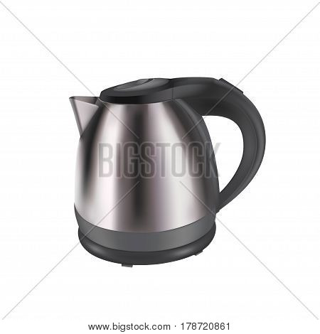 Photorealistic vector illustration of electric kettle isolated on white. Household appliances. Electric stainless steel kettle for boiling water