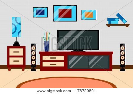 Flat creative modern design living room workspace with TV and furniture. Vector illustration of Interior living room