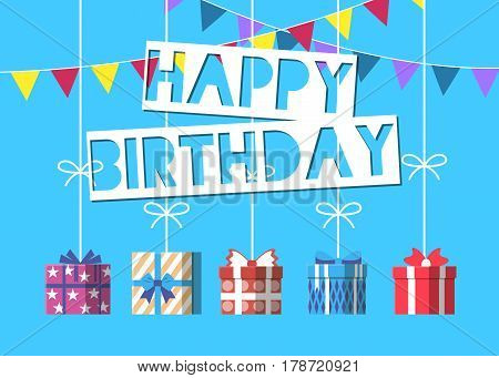 Happy birthday greeting card design vector illustration. Birthday banner with wrapped present box. Party or holiday event congratulation with gift box with bow and ribbon in flat style.