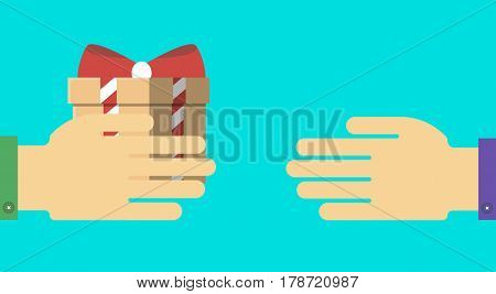 Happy birthday greeting card design vector illustration. Birthday concept with wrapped present box in human hand. Party or holiday event, people congratulating congratulation banner in flat style.