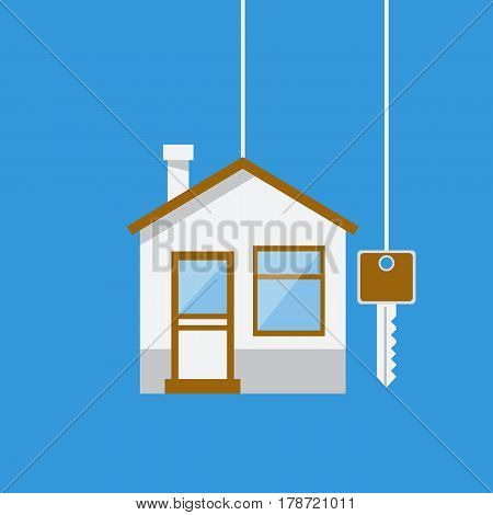 Real Estate concept House with key. Template for sales rental advertising. Vector illustration flat design