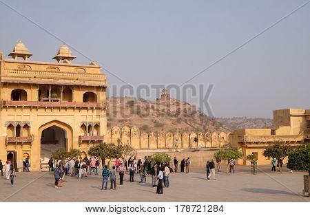 JAIPUR, INDIA - FEBRUARY 16: Amber Fort in Jaipur, Rajasthan, India, on February 16, 2016.