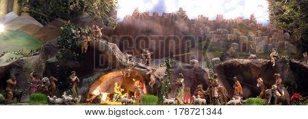 ZAGREB, CROATIA - DECEMBER 28: Nativity Scene, Christmas creche in Zagreb cathedral, on December 28, 2015.