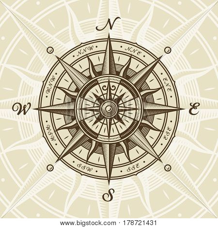 Vintage nautical compass rose
