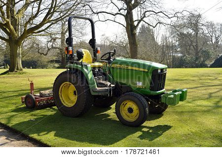 Tatton Park Cheshire England UK Europe - March 27 2017 : John Deere Compact Utility Tractor