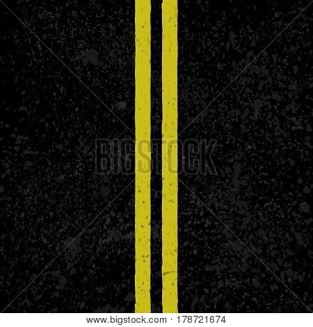 Black asphalt background with two yellow road lines
