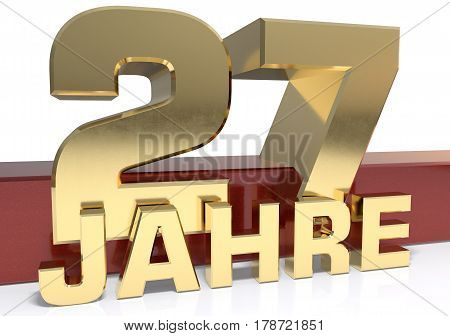 Golden digit twenty seven and the word of the year. Translated from the German - years.3D illustration