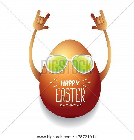 vector happy easter greeting card with funky rock n roll hipster golden egg. vector spring easter party poster or background
