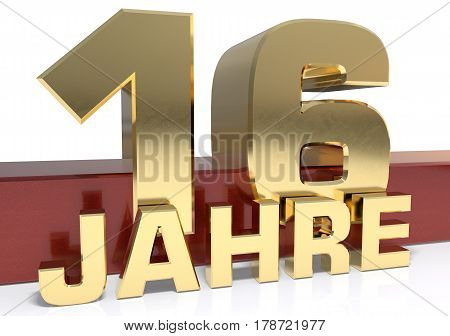 Golden digit sixteen and the word of the year. Translated from the German - years.3D illustration