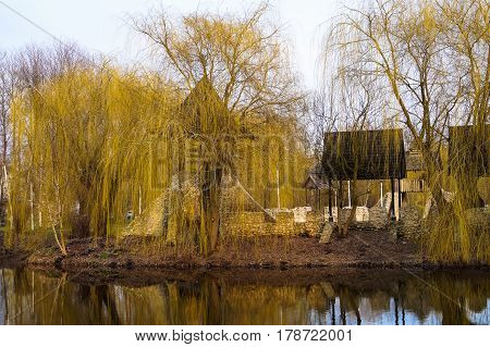 an old Cossack fortress in a Park landscape