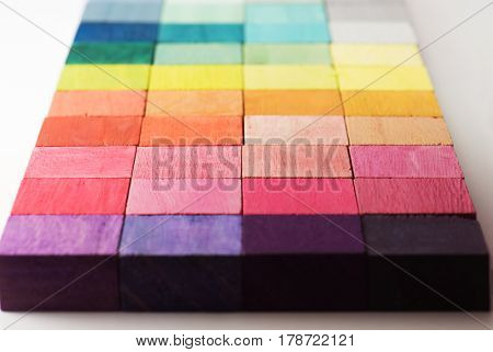 Colorful arrangement of beautiful color blocks. arranged on a natural white background. Shallow depth, of field.