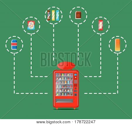 Automatic vending machine infographics vector illustration. Cold drink can, snack, chocolate bar, chips packaging, fast food retail. Automatic seller front view with full shelves advertisement poster