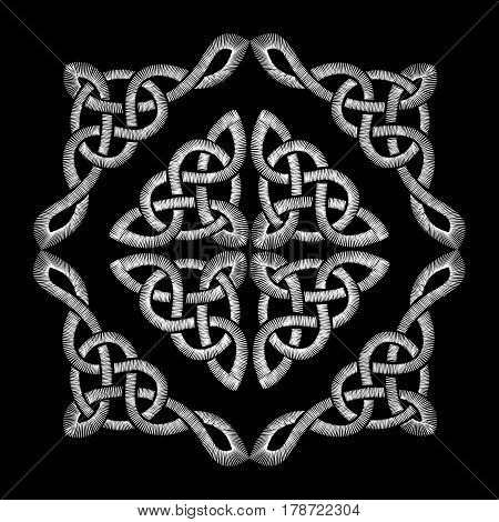 Embroidered Celtic Knot Pattern. Embroidery Traditional Necklace Ornament. Fashionable Design. Neckl