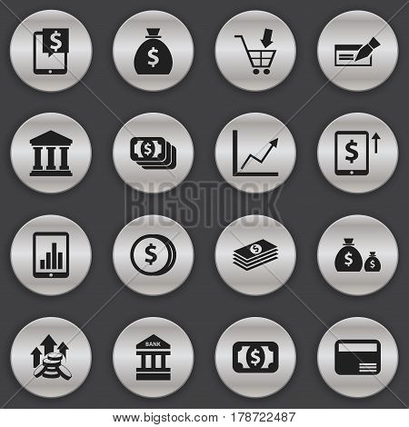 Set Of 16 Editable Finance Icons. Includes Symbols Such As Money Card, Holdall, Currency And More. Can Be Used For Web, Mobile, UI And Infographic Design.
