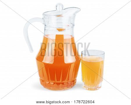 Jug and glass of orange juice isolated on white background