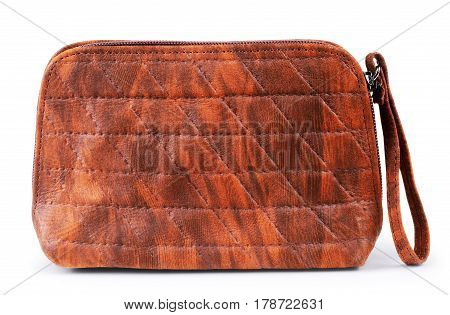 Terracotta women handbag isolated over white fancy, single, large, wear, shop, capacious