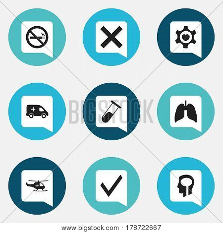 Set Of 9 Editable Health Icons. Includes Symbols Such As No Check, Test Tube, Medical Aviation And More. Can Be Used For Web, Mobile, UI And Infographic Design.