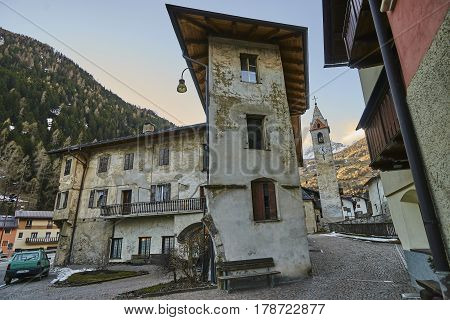 Cogolo, Italy - March 10, 2017: View Of The Town Center On 10 Ma