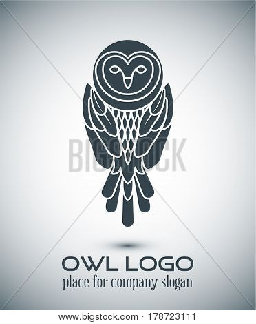 Owl Logo Lineart Template.line Art, Thin Line Style Logotype, Simple Cute Owl Icon, Place For Text .