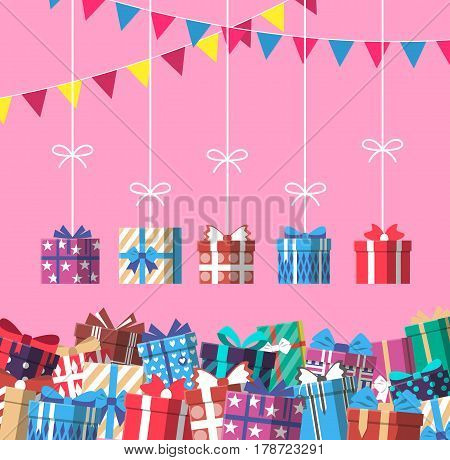 Happy birthday banner with gift box vector illustration. Wrapped gift box with ribbon, lots of holiday presents and holiday decorations in flat design. Birthday or christmas box surprise greeting card