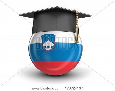 3D illustration. Graduation cap and Slovene flag. Image with clipping path