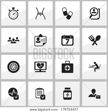 Set Of 16 Editable Complex Icons. Includes Symbols Such As Employee, Heart Rhythm, Drug And More. Can Be Used For Web, Mobile, UI And Infographic Design.